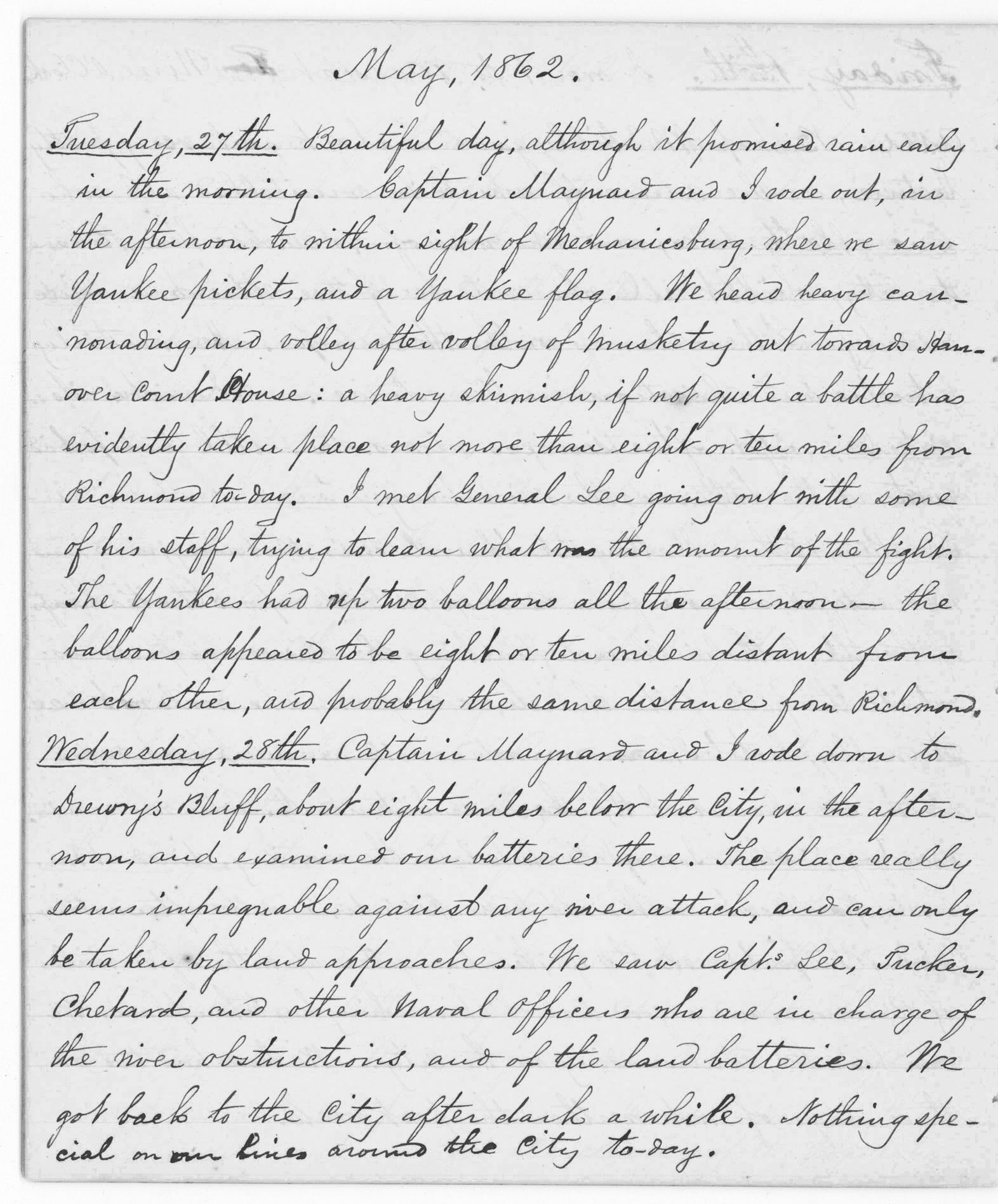 Journal entry for civil war